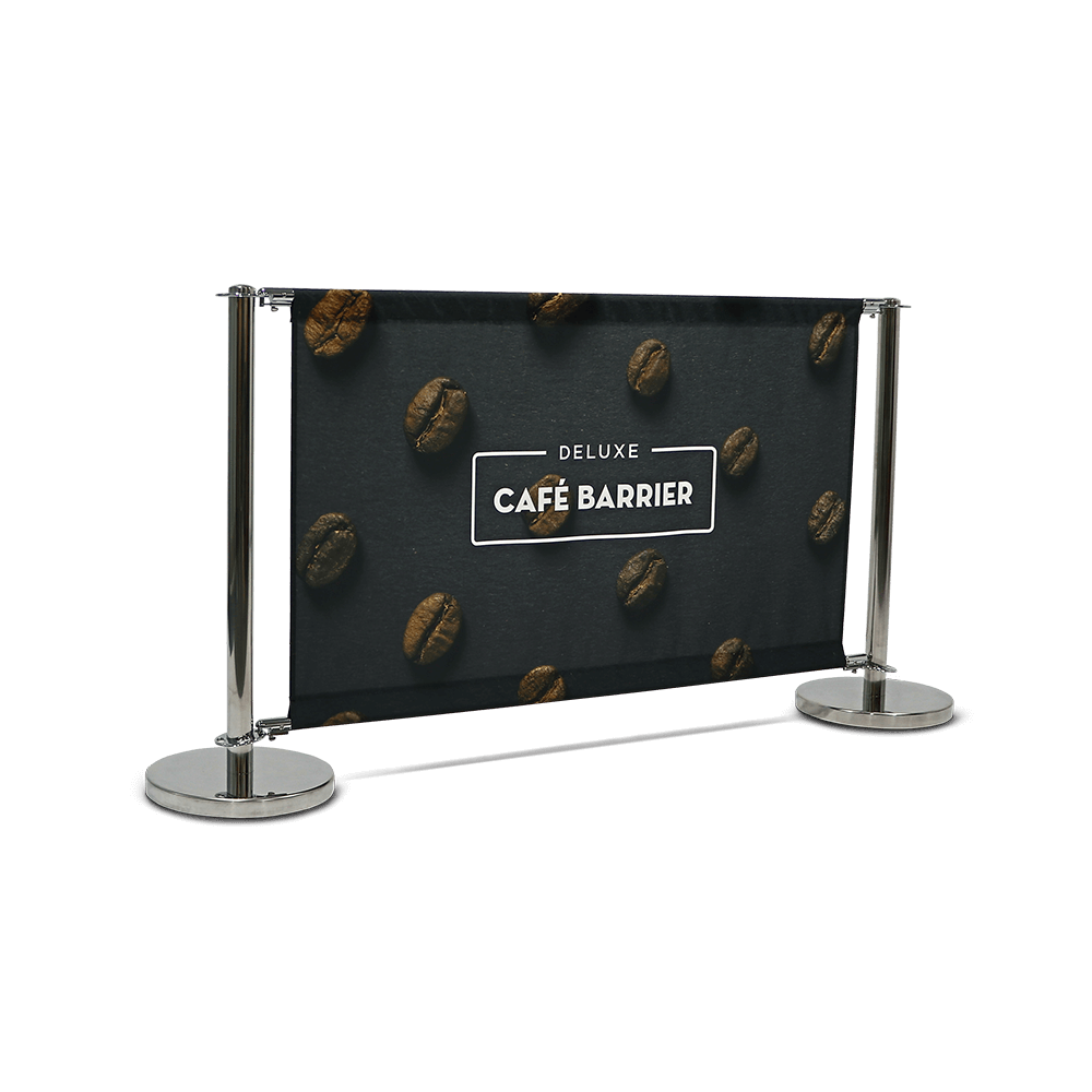 Cafe Barrier – Either Economy or Deluxe options available and printed on 210gsm Display Polyester. These can be printed either single or double sided.