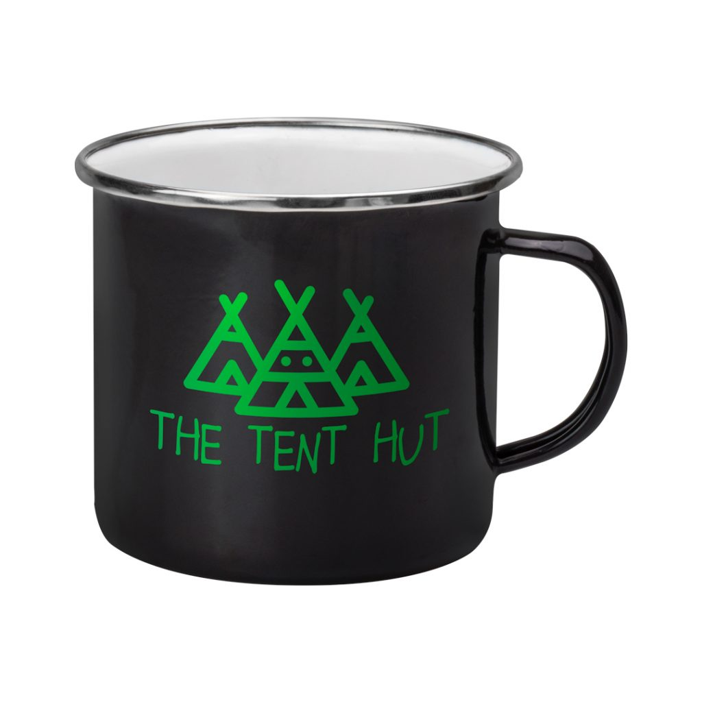 Camping Mugs – Printed on enamel and with a choice of mug colours.