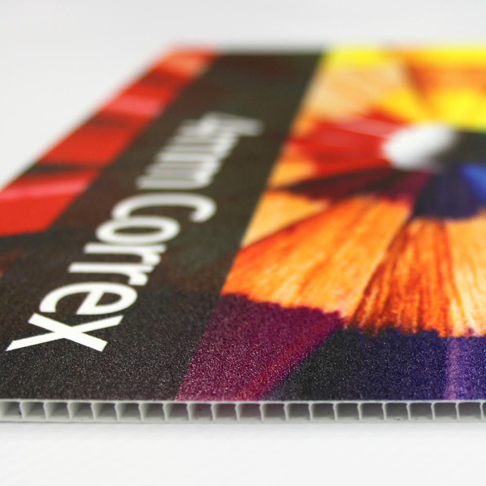 Correx Boards – 4mm correx can be printed single or double sided and cut to shape.
