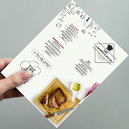 Menu – Menus can be supplied in a variety of sizes and weights with bespoke folding options and finishes available.